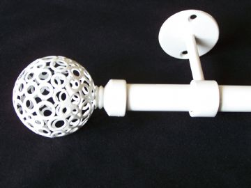 19mm Gloss White Ceiling Eyelet Curtain Pole with Circle Ball Finials 1.2m 1.5m 2.4m 3m